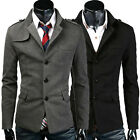 New Mens Casual Classic Pea Wool Coat Trench Jacket Black Grey Parkas Overcoats