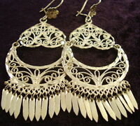 TAXCO MEXICAN STERLING SILVER FILIGREE HEART DECO SCROLL EARRINGS MEXICO