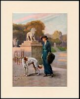 BORZOI AND PRETTY EDWARDIAN LADY IN GREEN DRESS DOG PRINT MOUNTED READY TO FRAME