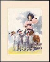 BORZOI DOGS PRETTY LADY PINK DRESS LOVELY DOG PRINT MOUNTED READY TO FRAME
