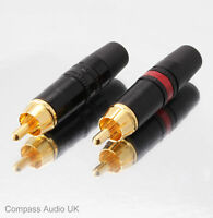 2 NEUTRIK GOLD PHONO RCA PLUGS NYS373 Red/Black Professional Connectors REAN