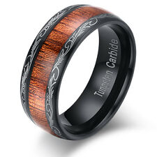 8mm Mens Laser Black Tungsten Carbide Ring Inlay Real Brown Wood SIZE 7-14 NEW