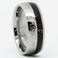 Fashion New Mens 8MM Tungsten Carbide Walnut Wood Inlay Band Ring 7-13 Gift Box