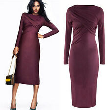 CHEAP NEW Womans Slim Fit Long Sleeve Pleated Stretchy Pencil Dress Evening ball