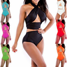 New Retro Womens Sexy Swimwear Bandeau Top Bikini High Waisted Bottom Swimsuit