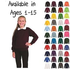 Boys Girls Unisex Jumper Sweatshirt Crew Neck School Uniform Ages 1-15