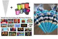 10 - 45 THEMED PERSONALISED DIY SWEET CONES KIT BIRTHDAY PARTY BAGS - THANK YOU