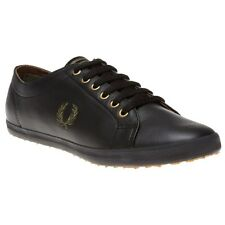 New Mens Fred Perry Black Kingston Leather Trainers Plimsolls Lace Up