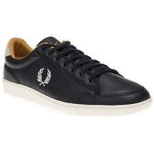 New Mens Fred Perry Blue Hopman Leather Trainers Retro Lace Up