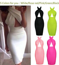 Sexy Women Backless Cross Halter Bandage Bodycon Evening Party Clubwear Dress