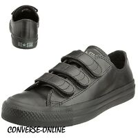 School Boys Girls CONVERSE All Star BLACK LEATHER VELCRO Trainers Shoe SIZE UK 4