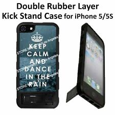 Keep Calm Dance in the Rain Kick Stand Double Layer Case For iPhone 5 Black
