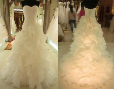 New Stock White/Ivory Organza Wedding Dress Bridal Gown Size 6 8 10 12 14 16 18
