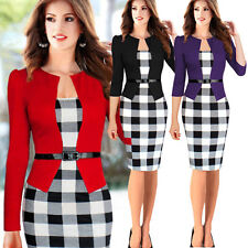 SLIM Womens Long Sleeve Office Wear To Work Party Bodycon Pencil Career Dresses