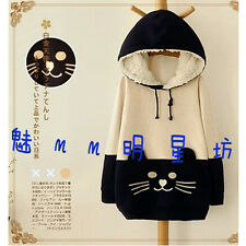 New Japanese Mori Kawaii Girl Cat Face Tail Hoodie With Cute Hat Sweater Shirt