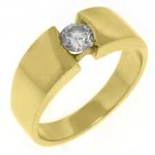 MENS 1/2 CARAT SOLITAIRE ROUND CUT DIAMOND RING WEDDING BAND 14KT YELLOW GOLD