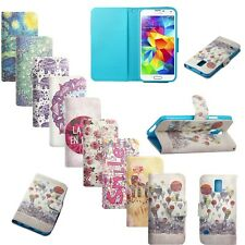 Wallet Case Cover Card Slot Leather Flip Floral For Various Phone Stand Printed