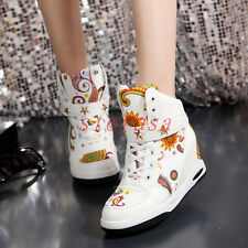 Punk Rock Hidden Wedge Sneakers Womens Lace Up Velcro High Top Sport Shoes Size