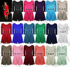 Womens Ladies 3/4 Sleeve Frankie Tailored Skater Pleated Party Dress with Belt