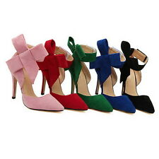 Womens Slim High Heels Stiletto Pumps Sexy Pointed Toe Bowknot Evening Shoes
