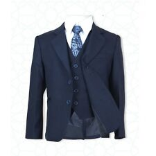 New Boys 5 PC All in One Navy Blue Boys Suit, Page Boy Communion Wedding Suits