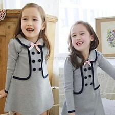 2-7Y Baby Preppy Style Long Tops Dress Kid Girl Winter Pullover Coat Outfits B84