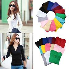 FASHION WOMEN V NECK CASUAL LONG SLEEVE T SHIRT TOPS BLOUSE SLIM SHIRT BASIC TEE