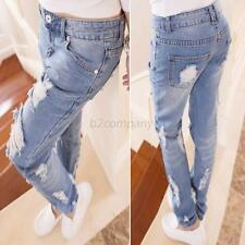New Torn Jeans Ripped Destroyed Distressed Light Blue Denim Cowboy Womens B24