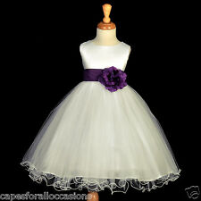 IVORY PLUM PURPLE RECITAL TULLE GOWN FLOWER GIRL DRESS 12-18M 2/3T 4 5/6X 8 9 10