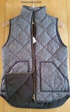 NWT J.Crew Factory Excursion Quilted Puffer Herringbone Vest Steely Grey XXS~XXL