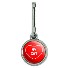 Antiqued Charm Clothes Purse Luggage Backpack Zipper Pull I Love Heart My C-F
