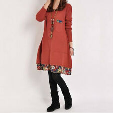 Autumn Casual Dress Mori Girl Woman Style Long Sleeve Patchwork Floral Dress