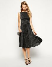 ASOS Vintage Midi Skater Dress in Pleated Lurex with Open Back Detail