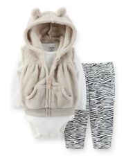 Carters Baby Girls 3pc Hooded Velboa Vest Set 3 6 9 12 18 24 Months Outfit Zebra