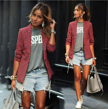 Women Lady Slim Casual Blazer Blouse Outwear Parka Trench plaid Coat Jacket