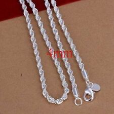 Fashion 4MM 925 sterling silver Chain Men Necklace 16-24 inch
