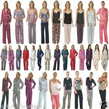 Ladies Satin PJs Pyjamas Size 8 10 12 14 16 18 20 22 24 26 28 NEW