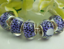 new Silver lampwork Pattern Charm bead fit Spacer beads Bracelet Wholesale a247