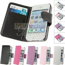 Magnetic Wallet Flip Leather Card W/Strap Holder Case Cover For iPhone 4 4S 5 5S