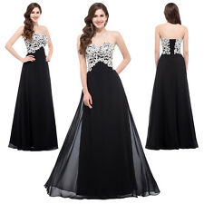 CHEAP! BLACK Masquerade Gowns Bridesmaid Formal Evening Party Long Prom Dresses