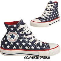 Kid Boy Girl CONVERSE All Star REPEAT STAR HI TOP Blue White Trainers Boot UK 10