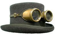 Raven Gothic Steampunk/victorian top hat with rustic goggles