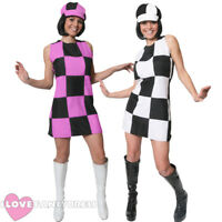 LADIES 60S PARTY GO GO GIRL FANCY DRESS COSTUME WOMENS HIPPY SHIFT DRESS AND HAT