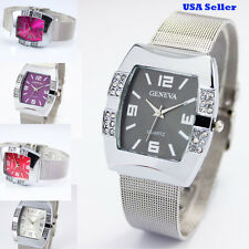 New Alloy Net Band Watch Trendy Color Face Quartz Girl Women Ladies Wrist Watch