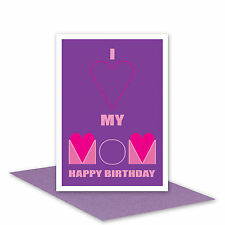 Mom Happy Birthday card for MOM from daughter son I Love my MOM card message