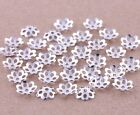 1000 pcs silver plated little flower bead caps findings charms 6mm