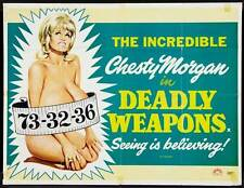 DEADLY WEAPONS Movie POSTER 27x40 UK Chesty Morgan Harry Reems Richard Towers