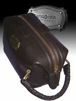 SAMSONITE BLACK LABEL TOILETRIES KIT TRAVEL BAG Resort Brown Leather AUTHENTIC