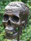 STUNNING TRIBAL TATTOOED LIFE SIZE HUMAN SKULL PURE BRONZE SCULPTURE