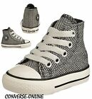 KID Boy Girl CONVERSE All Star BLACK HERRINGBONE HI TOP Trainers Boot SIZE UK 10